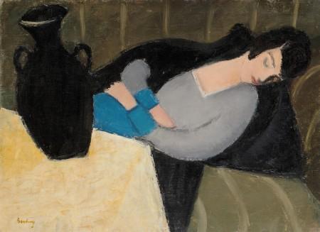 Berény Róbert, Die Schlafende Frau mit Schwarzer Vase, zwischen 1924–1928, © Virág Judit Galéria