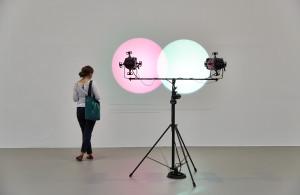 Ausstellungsansicht, 2015 VIENNA BIENNALE 2015: IDEAS FOR CHANGE Future Light: Escaping Transparency, MAK-Ausstellungshalle Amalia Pica, Venn Diagrams (Under the Spotlight), 2011 © Peter Kainz /MAK