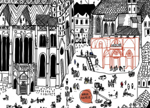 Stephansplatz mit Virgilkapelle (Ausschnitt); Illustration: Stefanie Hilgarth