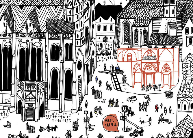 Stephansplatz mit Virgilkapelle (Ausschnitt); Illustration: Stefanie Hilgarth