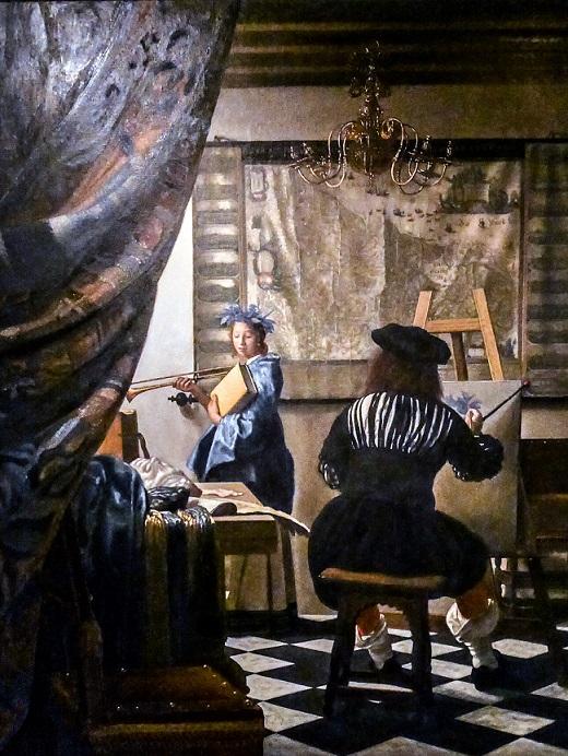"""Jan Vermeer van Delft (1632-1675), """"Die Malkunst"""" c. 1665-67, Original KHM Wien, Öl auf Leinwand (120x100cm), Meisterkopie von: Andrey"""